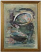 BELLE K. FARMER - OIL PAINTING ON CANVAS BOARD - Signed, the painting is an abstracted scene with fish in blues, purples and greens....