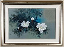 DAWN'S CARESS - DAVID LEE (1944 - , China/Hawaii) - Watercolor composition on silk of flowers in bright background. In silver frame...