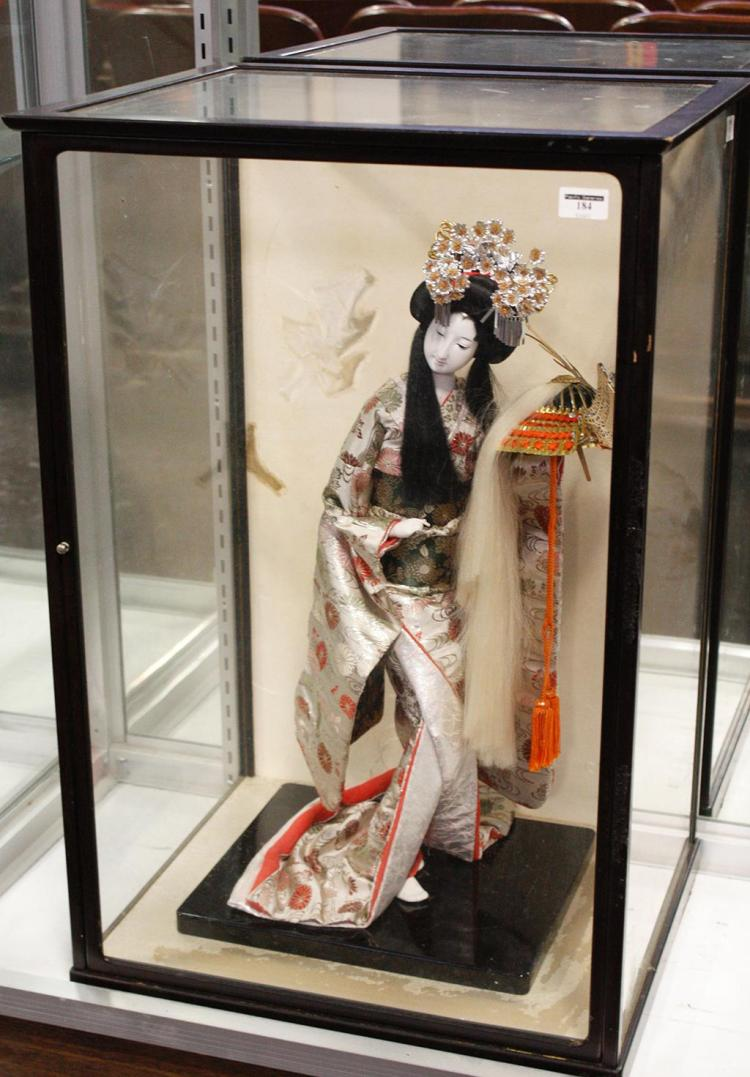 d376376c094 JAPANESE GEISHA DOLL HOLDING SAMURAI HELMET - Dressed in traditional  brocade kimono and with an elaborate