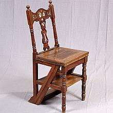 LIBRARY STEP CHAIR - Of mixed woods, with turned uprights, bone decorated back splat and top rail, rectangular seat platform, turned...
