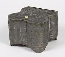 CHINESE PEWTER TEA CADDY MADE FOR EXPORT - Intended for the Western market; decorated with etched dragons and fire symbols