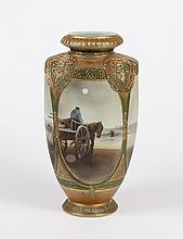 LARGE PORCELAIN NIPPON VASE - With a painted scene of horses and carts waiting on a beach to be loaded with netted fish or other ite...