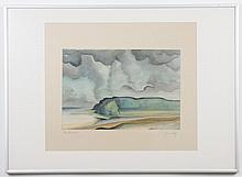 JOHN LO _ _ _ (rest not decipherable) WATERCOLOR ON PAPER - Pencil signed on painting and on matting. Shows a coastal scene with oce...