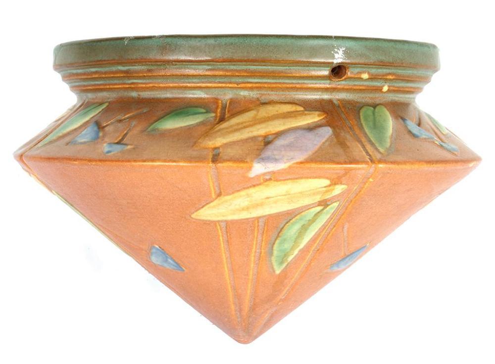 Roseville Pottery Futura Hanging Planter Big Basket Shap