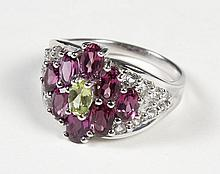 RING OF AMETHYST, CITRINE AND WHITE TOPAZ - The ring is a