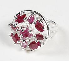 RUBY AND STERLING SILVER RING - The sterling silver mounting is 7/8