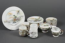 JAPANESE PORCELAIN DESSERT SERVICE - Vintage Hayashi Kutani 3-piece setting for eight with cream, sugar bowl, and charger. Hand pain...