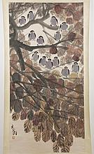 CHINESE SCROLL - Marked with artist seal, the scroll watercolor on paper depicts a group of birds perched on leafy tree branches. Co...