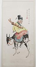 CHINESE SCROLL - Signed with artist seal, featuring calligraphy and a watercolor depicting a man with a donkey. Condition good; scat...