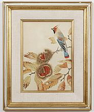 WOODBLOCK PRINT - Marked with seal of the artist. The woodblock printed on paper pictures a bird perched on a fruit tree branch. Con...