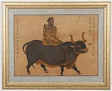 WATERCOLOR AND INK ON FABRIC - The painting is not signed. It depicts a figure seated on a water buffalo. With calligraphy. Conditio...