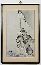 WATERCOLOR PAINTING ON PAPER - Marked with artist seal. The painting is of a man holding a large fish. Condition good. Mid to late 2...