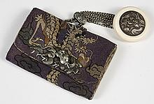 ANTIQUE JAPANESE PURSE WITH KAGAMI-BUTA NETSUKE - Embroidered dragon design fabric over brushed suede compartment interior. Silver s...