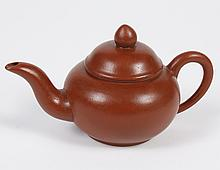 CHINESE YIXING CLAY TEAPOT - Small size with reddish brown color and longer spout. Characters and