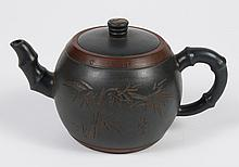 CHINESE YIXING CLAY TEAPOT - Muted teal blue with brown accents and bamboo style attributes for handle, spout and leaf pattern. Call...