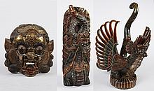 THREE BALINESE STYLE CARVINGS - One Barong mask; two Garuda bird figures