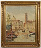 FREDE SALLING (1910- ?, Denmark) OIL ON CANVAS - Signed oil painting of a canal scene with gondolas and buildings. Condition good; l...
