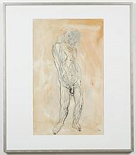 JOE RENO (1943- , WA) PAINTING - Signed watercolor and ink on paper, dated lower right. Painting is of a nude male against a light-...