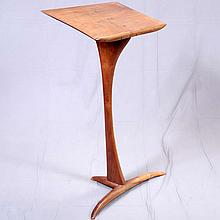 MUSIC STAND - Artisan crafted modern design of solid mahogany components. Condition good. Late 20th century. 40