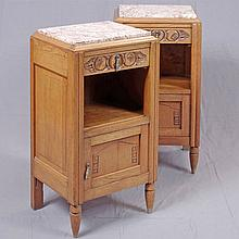 PAIR OF NIGHT STANDS (EN SUITE) - Vintage art deco-style Belgian oak each with plinth-style rouge marble top, stylized fruit and fol...