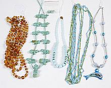 COSTUME JEWELRY: NECKLACES - Includes a blue and green tube bead necklace; an aqua blue coral-shape-beads necklace with sterling cla...