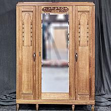 TRIPLE-DOOR ARMOIRE - Vintage art deco-style Belgian oak with plinth-style top, stylized fruit and foliate carvings, mirrored center...