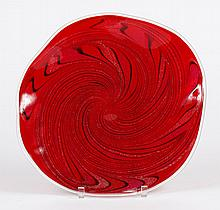 GLASS EYE STUDIO LOW BOWL WITH VORTEX SWIRL - Ruby red with expanding swirl pattern, infused glitter and clear lip wrap. Undulating...