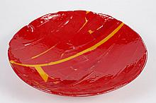 CAST AND FUSED MOSAIC GLASS BOWL - Attributed to Northwest glass artist Tim Hagen. Mosaic of layered reds and yellows. No signature....