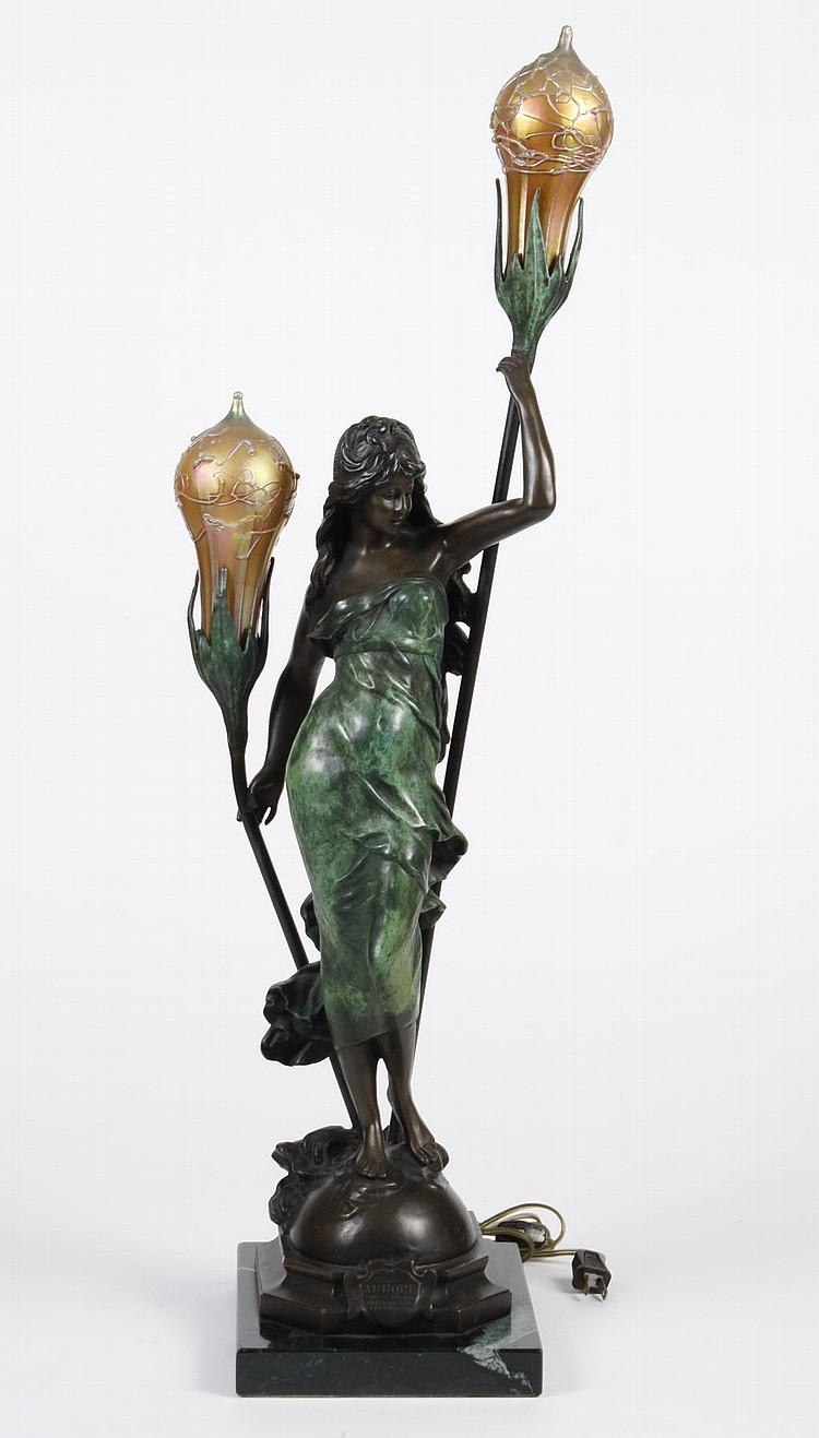 Auguste Moreau Bronze Lamp After Auguste Moreau Two Light