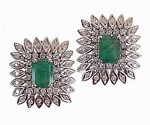 Pair of gold earrings with 2 9x7 mm emeralds & 80 8/8 cut diamonds, total approx. weight 1.60 cts.