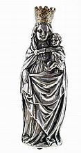 Holy Mary and baby Jesus, metal sculpture.