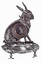 Late 19th/20th century Portuguese silver watch stand shaped as a sitting hare.