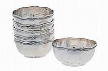 Set of 6, 20th century , Portuguese silver finger bowls.