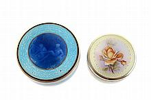 Set of two gilt silver and enamel boxes,