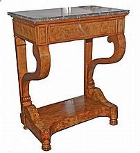 Wood veneer neoclassical console with mable top.