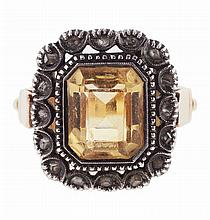 Portuguese silver and gold ring, set with one citrine quartz and several rose cut diamonds. Hallmarked. (1938-1984)