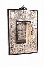 Resurrection of Christ, 19th century, Holy Land, hand carved mother of pearl panel. Restaurations.