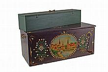 French, 19th century wood mechanical organ, from Mericout, Vosges region, circa 1880. With extra music roll in box.