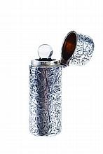 English silver portable perfume bottle.