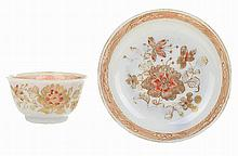 Chinese porcelain, water-lily shaped bowl and saucer.