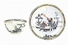 Chinese porcelain, cup & saucer, with European & Oriental figurines.
