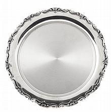 Portuguese silver salver, 20th century.