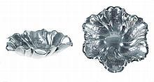 Portuguese silver 2 small salvers, 19/20th century.