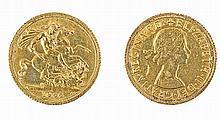 Gold pound coin Elisabeth, 1966.