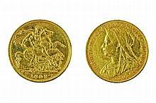 Gold pound coin, Victoria, 1897.