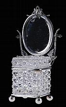 Baccarat glass box with mirror and silver mounts.
