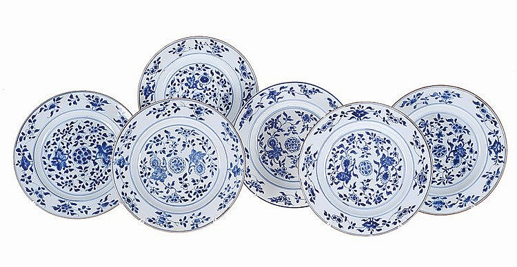 Set of 6 Chinese porcelain plates.
