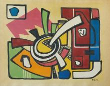 Painting: Attributed to Joseph Fernand Leger (French cubist, 1881-1955)