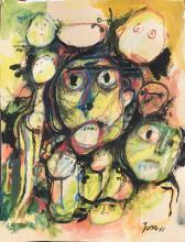 Painting: Attributed to: ASGER JORN (Danish, 1914-1973)