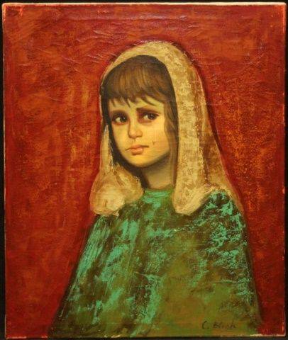 WALTER BLESH OIL PAINTING ON CANVAS OF CRYING GIRL